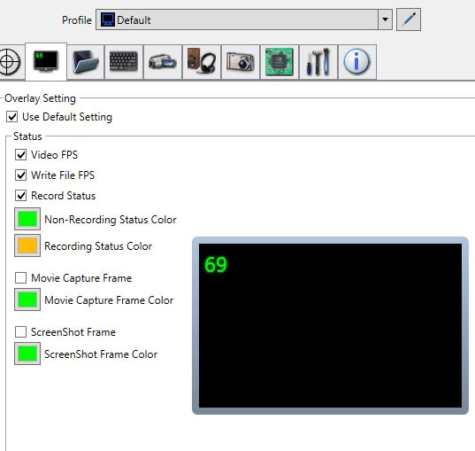 dxtory overlay settings screenshot