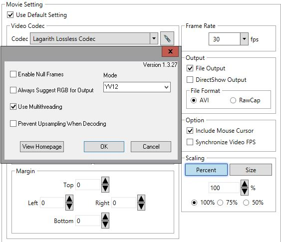 dxtory video settings screenshot