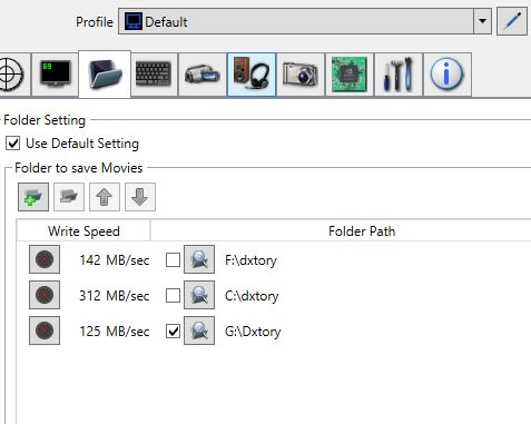 dxtory storage settings screenshot