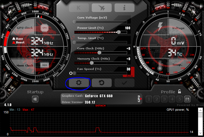 MSI Afterburner settings button